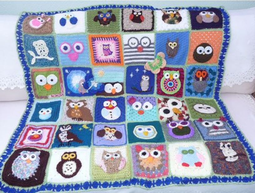 Free Crochet Pattern For Owl Afghan : Virka m?nster - uggla - Hj?lp - Virkning iFokus