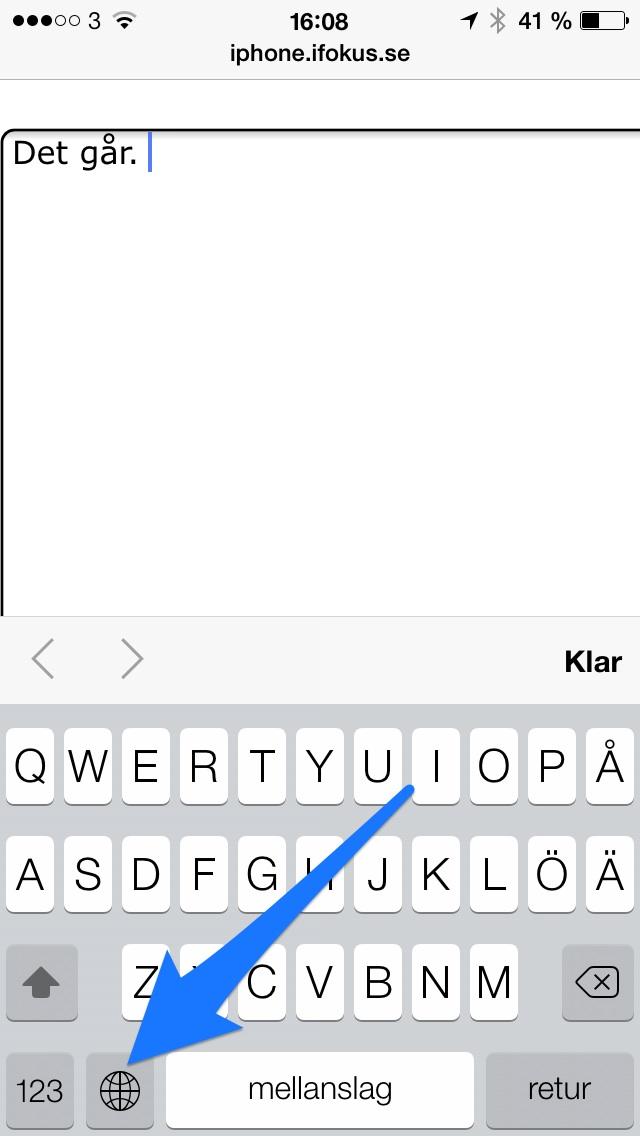 Hur v�ljer man tangentbordsspr�k i iPhone? - Inst�llningar ...